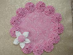 Doily SALE Spring Pink Paisley Yo Yo Doily with by SursyShop, $9.00