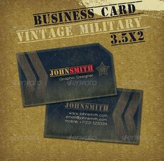 Vintage Military Style Business Card  #GraphicRiver         Military style with a vintage feel.   Business Card Template details    Resolution: 300 dpi  CMYK Print Ready  Bleed and Safe lines guides  Dimensions: 3.5×2  Fonts used:  .dafont /walkway.font    Feel free to contact me in case you have any questions.     Created: 16November10 GraphicsFilesIncluded: PhotoshopPSD Layered: Yes MinimumAdobeCSVersion: CS2 PrintDimensions: 3.5x2 Tags: blue #businesscard #casual #design…
