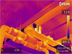 Thermography scan of commercial plumbing system for leaks.
