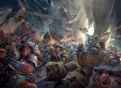 battle chapter_master creature great_wolf imperium logan_grimnar orks power_claws space_marines space_wolves wolf