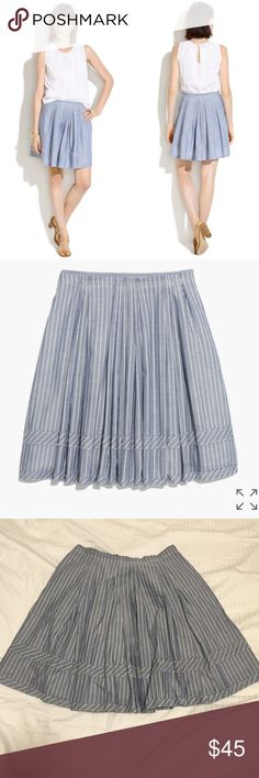 "Madewell Pleated Shirtstripe Skirt In excellent preworn condition. Crisp pleated skirt with sewn-on stripes. Full mini, lined, approx 18"" long, 100% cotton, hidden side zip. Madewell Skirts"