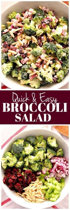 Quick and Easy Broccoli Salad Recipe - fresh broccoli florets, slivered almonds, dried cranberries, red onion and celery tossed in light creamy dressing, perfect for holidays and potlucks.