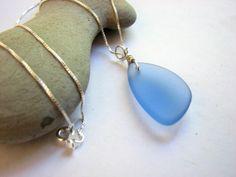 Blue Sea Glass Necklace, Sky Blue Recycled Glass Pendant   MyHappyDay - Jewelry on ArtFire