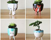 Shipping Sale: Set of Four Planters with Legs- cute, succulent / herb pot - bright colours, fun housewarming/birthday gift - Quebec pottery