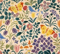Textile design of small stylised flowers, butterflies and birds, by C.F.A. Voysey. England, 1918