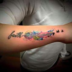 Pen in Watercolors, Birds, and Phrase: Faith
