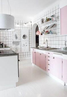 Each year the international authority on colour, Pantone, announce their top shade prediction. Take a look at the Pantone Colour of the Year and those that came before it. Decor, Kitchen Interior, Home, White Tiles, Pink Kitchen, White Kitchen Tiles, Room Inspiration, Home Interior Design, Kitchen Design