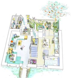 Ash Sakula has completed an Eco-terrace, three prototype affordable homes for social rent in the Eco-town of Whitehill Bordon in Hampshire for housing associ. Architecture Mapping, Architecture Graphics, Architecture Drawings, Architecture Portfolio, Presentation Techniques, Mews House, Architectural Section, Architectural Sketches, Aerial Images