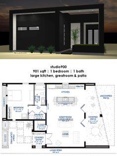 Charming Studio900 Front Courtyard House Plan | 61custom