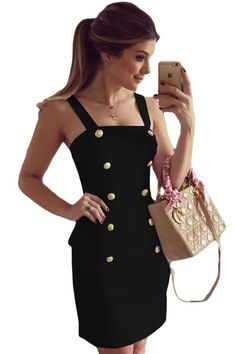 Gold Button Fly Side Mock Pocket Mini Dress in Black