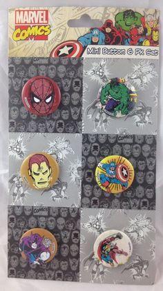 "6 Marvel Button Pin Set 1"" Spider Man Hulk Iron Man Captain America Hawkeye Thor | eBay"