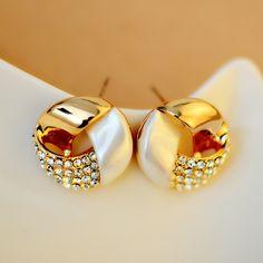 [$35.00] Novelty Golden Round Cross Full Diamond Rhinestone Stud Earrings - Free Shipping