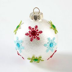 DIY Christmas ornament, snowflake punch, cardstock or glitter paper & gems