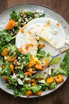 Sweet Potato Salad with Lentils and Fried Egg