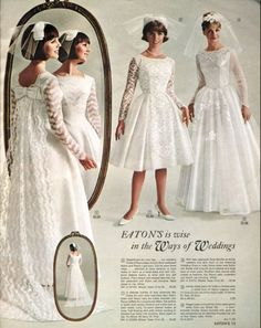 Vintage Wedding dresses in the Eaton's catalogue - Spring and Summer, 1965 1960s Wedding, Vintage Wedding Photos, Vintage Bridal, Vintage Outfits, Vintage Dresses, Vintage Fashion, Bridal Gowns, Wedding Gowns, Vintage Mode