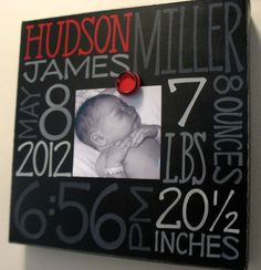 Baby Boy Birth Information Canvas Frame by NatalieKingArt on Etsy