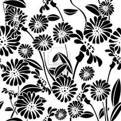 bloemen zwart wit