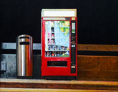 Food Vending Machine, cm, oil on canvas Food Vending Machines, Oil On Canvas, Behance, City, Check, Painted Canvas