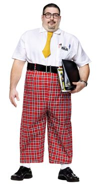 High-water plaid pant jumpsuit with attached shirt, belt, tie, pocket protector…