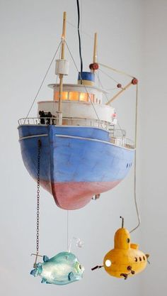 Amazing Fishing Boat mobile from Olle & Stephan. What a cute accessory to have in a baby boy's nursery! Little People, Little Ones, Nursery Inspiration, Wood Toys, Kid Spaces, Boy Room, Baby Love, Diy For Kids, Kids Bedroom