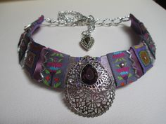 Bib Collar Statement Necklace Purple Eggplant by audreymivey, $48.00