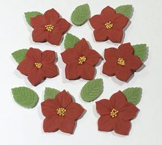9 x edible icing Poinsettia christmas flower cupcake toppers cake decorations by ACupfulofCake on Etsy £16.50