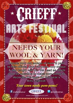 If you have any old scraps of wool or yarn and would like to donate them to the Crieff Arts Festival, you can drop them off at Tangled up in blue boutique Crieff, Perthshire.
