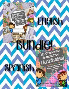 English and Spanish Interactive Animal Journal Bundle!  Gr
