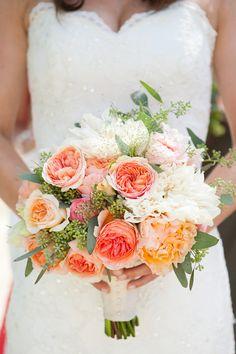 peachy garden rose, ranunculus and dahlia bouquet by Julie Stevens Design