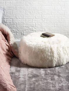8cc715c3f77 Real Sheepskin Pouf! Elegant  amp  Luxurious Piece of Furniture! Vintage  Home Decor,