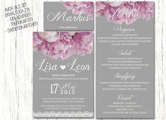 Hochzeitseinladung Shabby Peonies A6 von PaperLoversDesign auf DaWanda.com