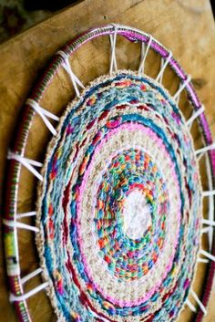 Area Rugs 10 Ways to Make a Warm & Cozy Round Area Rug Stylish & Affordable Area Rugs Hand Loomed Rome Casual Solid Tone-On-Tone Moroccan Trellis Wool Hula Hoop Rug, Hula Hoop Weaving, Tshirt Garn, Circular Weaving, Weaving Projects, Round Area Rugs, Loom Weaving, Finger Weaving, Rug Loom
