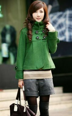 Green woolen short coat