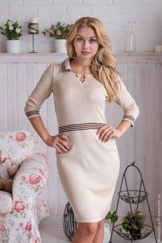 """Купить Платье """"France"""" - кремовый, однотонный, бежевое платье, платье для офиса, платье, классический стиль"""