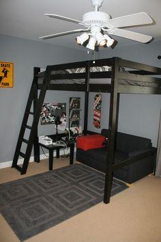 Bedroom Setup, Room Design Bedroom, Boys Bedroom Decor, Room Ideas Bedroom, Home Room Design, Small Room Bedroom, Loft Beds For Small Rooms, Adult Loft Bed, Loft Bed Plans