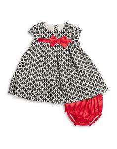 Bon Bleu Baby Girls Textured Bow Dress and Bloomers Set  Black 12 Mont