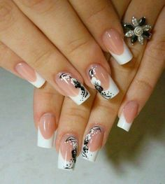 French manicure with  black/white design