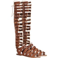 Zimmermann Lace Up Gladiator Flat ($450) ❤ liked on Polyvore featuring shoes, lace up shoes, swim shoes, laced shoes, zipper shoes and gladiator shoes