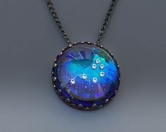 The Pleiades Necklace 7 Sisters Necklace Constellation Skymap Necklace in Glass by Jackie Taylor Designs Fingernail Polish Remover, The Pleiades, Photography Cheat Sheets, Sister Necklace, Christmas Shopping, Midnight Blue, Constellations, Cosmic, Sisters