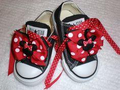 Mini Minnie Mouse Bows and Laces for Shoes by kdstomny6 on Etsy, $15.00