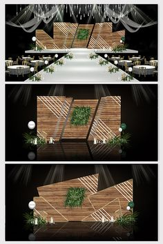 Modern minimalist Sen small fresh wood grain wedding effect map Wedding Backdrop Design, Wedding Stage Design, Stage Set Design, Church Stage Design, Wedding Stage Decorations, Church Interior Design, Corporate Event Design, 3d Models, Booth Design