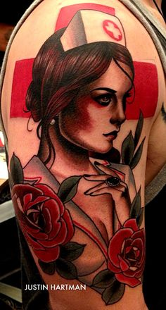 justin hartman tattoo. The more I see his work, the more I want to leave a piece on my arm from him. Classic American Flash Nurse tattoo.