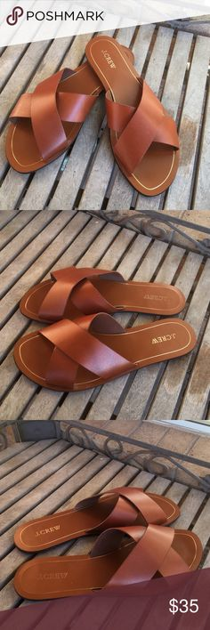 J.Crew Tan Leather Cyprus Seaside Slip On Sandals Gorgeous! In great shape! J.Crew Tan Leather Cyprus Seaside Slip On Sandals. Soles are a little dirty. (See pics). Simplicity at its best. Just Slip these beauties on and go. Tan, brown, camel, chestnut, slide one. J. Crew Shoes Sandals