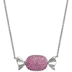Sis by Simone I Smith Platinum over Sterling Silver Necklace Pink... ($250) ❤ liked on Polyvore featuring jewelry, necklaces, accessories, collares, pendant jewelry, sterling silver jewelry, sterling silver pendant, crystal pendant and pink crystal pendant