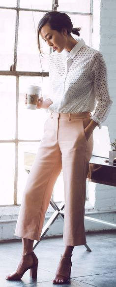 Easy and breezy. Pair some neutral slacks with a light cut-out top. Office Fashion, Business Fashion, Work Fashion, Professional Outfits, Business Casual Outfits, Office Ootd, Office Wear, Spring Work Outfits, Fashion Stylist