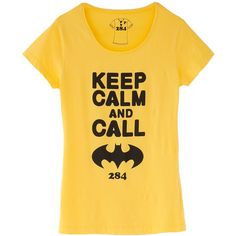 T-Shirt keep calm » Blusas - OQVestir ❤ liked on Polyvore featuring tops, t-shirts, shirts, tees, yellow t shirt, shirts & tops, t shirts, yellow tee and yellow top