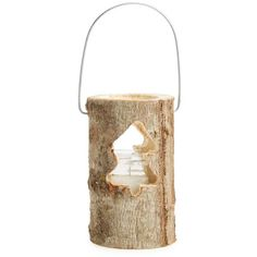 Europe2You Log Lantern (79 CNY) ❤ liked on Polyvore featuring home, home decor, candles & candleholders, light brown wood tree, log home decor, rustic candles, star lantern, rustic home decor and rustic star home decor