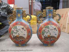 China Bronze Cloisonne Deer Red-crowned Crane Pine Tree Pot Bottle Vase pair