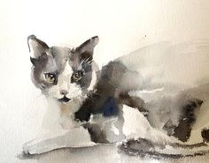 Cat Watercolor Painting Original Watercolor Painting by CanotStop