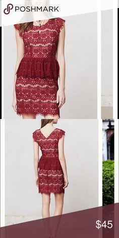 Anthropologie Maeve Elsa dress Beautiful wine/maroon lace over a nude liner/slip. EUC. Anthropologie Dresses